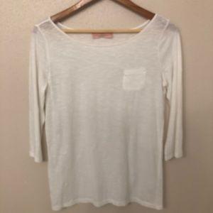 Ann Taylor Loft 3/4 Sleeve Slub White Top M